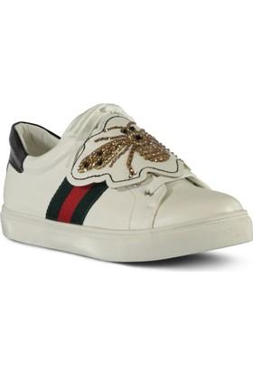 Marjin Sami Düz Spor Ayakkabı Beyaz