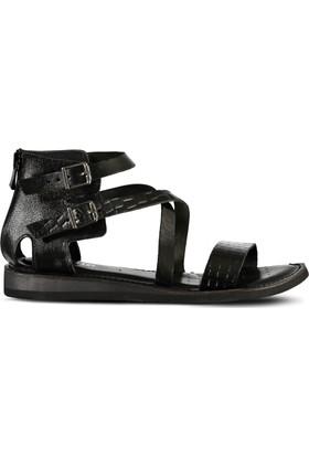Marjin Nani Düz Deri Sandalet Siyah