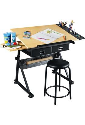 hobi24 Design Çizim ve Çalışma Masası + Tabure (001)