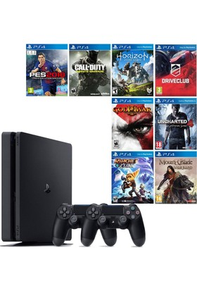 Sony PS4 Slim 500 GB Oyun Konsolu + 2. PS4 Kolu + 8 Adet PS4 Oyunu