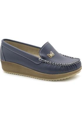 Mimy 0321 Dolgu Topuk Loafer Kadın Babet Ayakkabı