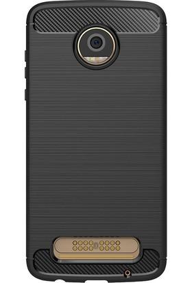 Microcase Motorola Moto Z2 Play Brushed Carbon Silikon Kılıf