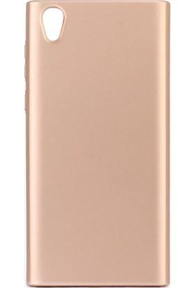 Microcase Sony Xperia L1 Luxury Köşeli Sert Rubber Kılıf + Tempered Cam