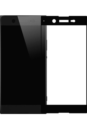 Microcase Sony Xperia XA1 Ultra Siyah Çerçeveli Tempered Cam Ekran Koruyucu