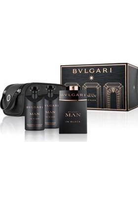 Bvlgari Man in Black Erkek Parfüm Seti-100ML EDP + 75ML AS + 75ML SG + Pouch