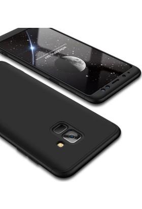 Case 4U Samsung Galaxy A8 Plus 2018 360 Derece Korumalı Tam Kapatan Koruyucu Kılıf Siyah