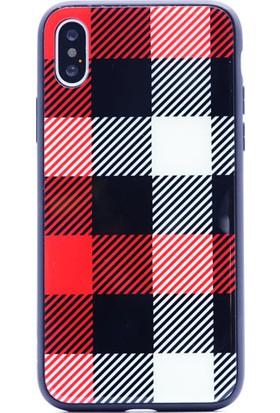 Case 4U Apple iPhone X Kılıf Desenli Temperli Cam Arka Kapak Siyah Beyaz Kareler