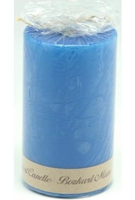 Bozkurt Silindir Şeklinde Mum Mavi 7x12 cm