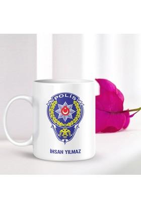 Leydi Collection Kişiye Özel Mesleki Polis Memuru Beyaz Kupa Bardak - 001