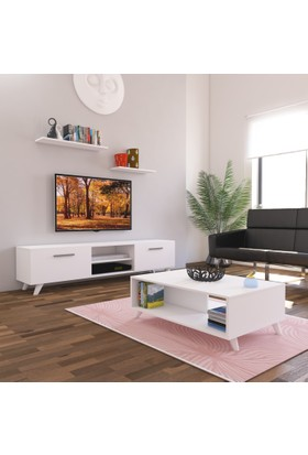Nur Mobilya 2'li Salon Takımı Seti Beyaz 180 cm Tv Sehpası + Orta Sehpa
