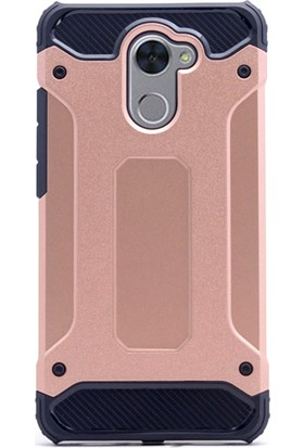 Gpack Huawei Y7 Kılıf Sert Çift Katmanlı Crash Kılıf + Cam