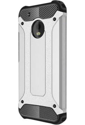Gpack Motorola Moto E4 Kılıf Sert Çift Katmanlı Crash Kılıf + Cam + Kalem