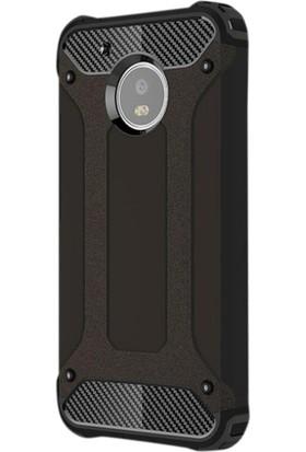 Gpack Motorola Moto G5S Plus Kılıf Sert Çift Katmanlı Crash Kılıf + Cam