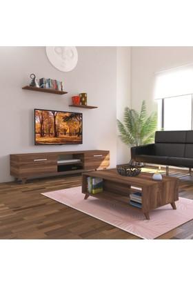 Nur Mobilya 2'li Salon Takımı Seti Ceviz 180 cm Tv Sehpası + Orta Sehpa