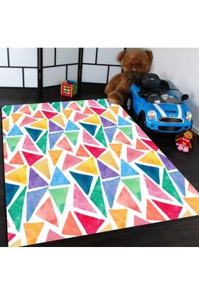 Bebişim Renkli Üçgenler Çocuk Odası Halısı