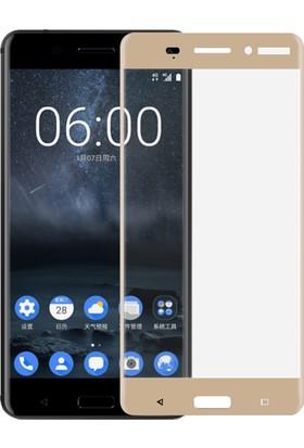 Microsonic Nokia 6 3D Kavisli Temperli Cam Ekran koruyucu Film Gold