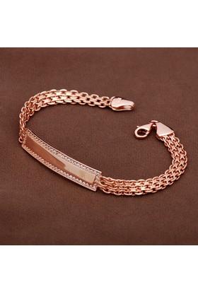 Sümer Telkari Zirkon Taşlı Tasarım Hasır Örgü Elişi Rose Gümüş Bileklik 1895