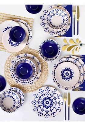 Keramika 24 Parça 6 Kişilik Yemek Takımı İknat Kobalt