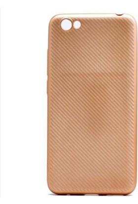 Coverzone Vestel Venüs E3 Kılıf Karbon Görünümlü Silikon Altın + Ekran Koruyucu Cam