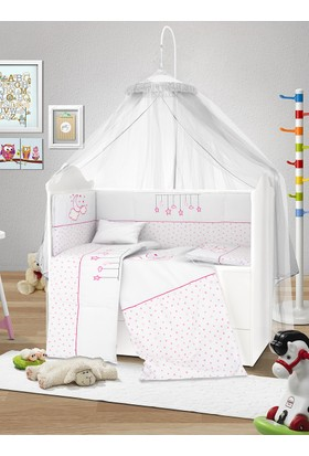 Lava Baby 60x120 Pamuklu Uyku Seti - Pink Star 8 Parça