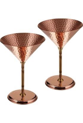 Copperbull Kalın Dövme Bakırdan El Yapımı Martini Bardak Şarap Kadehi 2 Adet