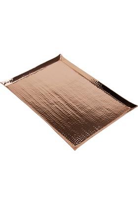 Copperbull Kalın 1,2 Ml Dövme Bakırdan 43X29 Cm Servis Tepsisi