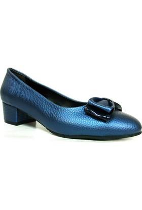 Punto 544672 Saks Lacivert Fiyonklu Deri Topuklu Kadın Ayakkabı