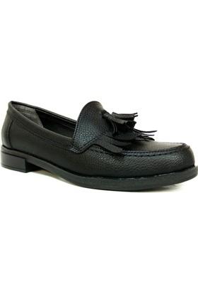 Punto 642434 Siyah Deri Casual Kadın Ayakkabı