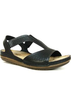 Paprika 74868 Siyah Anatomik Comfort Kadın Sandalet