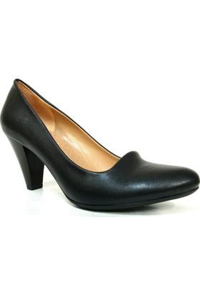 Topuz 231 Siyah Deri Topuklu Kadın Ayakkabı