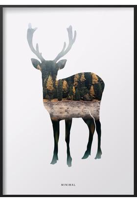 Dizayn House Deer Özel Tasarım Çerçeveli Tablo
