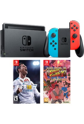 Nintendo Switch Renkli + Fifa 18 Switch Oyun + Street Fighter x Tekken Switch Oyun