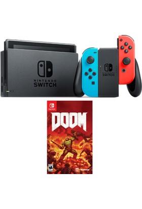 Nintendo Switch Renkli Kırmızı Mavi + Doom Switch Oyun