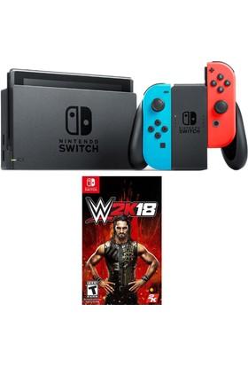 Nintendo Switch Renkli Mavi Kırmızı + W2K18 Switch Oyun