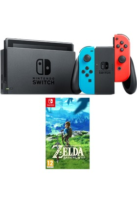 Nintendo Switch Renkli Mavi Kırmızı + Zelda Switch Oyun