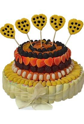 Şeker Şef Renkli Kalpler Doğum Günü Şeker Buketi