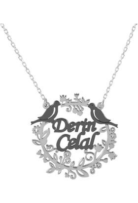 Glorria Kişiye Özel İsmli Kuşlu Gümüş Kolye Gümüş