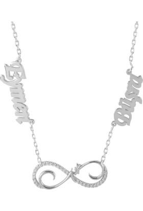 Glorria Kişiye Özel İsimli Aşk Gümüş Kolye Gümüş