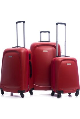 Ground Classic Abs Üçlü Valiz Seti Kırmızı 1Gr010465