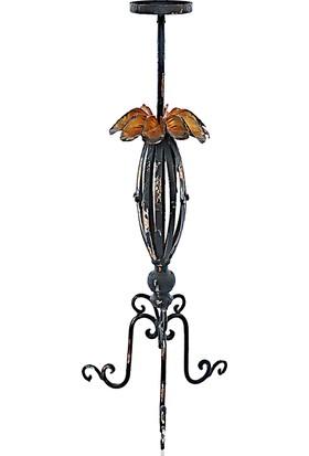 Mwd Çiçek Motifli Eskitme 3 Ayaklı Şamdan