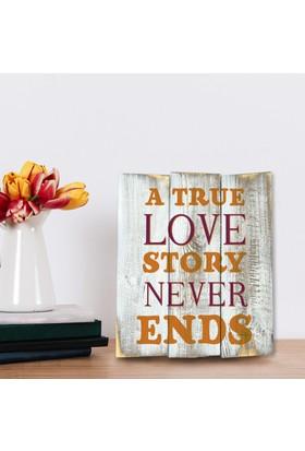 Harf Sepeti Ahşap Duvar Panosu A True Love Story Never Ends