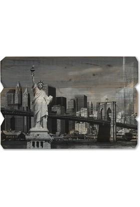 Harf Sepeti Ahşap Duvar Panosu New York