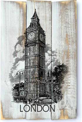 Harf Sepeti Ahşap Duvar Panosu London Big Ben
