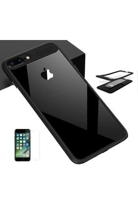 Case 4U Apple iPhone 7 Plus / 8 Plus Çift Renkli Silikon Kılıf + Temperli Cam Ekran Koruyucu Ekran Koruyucu Siyah