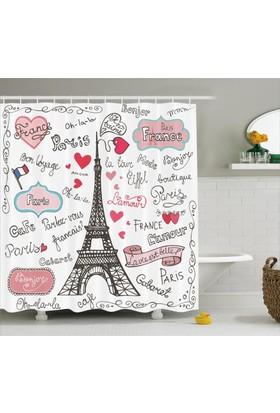 Orange Venue Romantizm Temalı Duş Perdesi Paris Çeyizlik Aşk