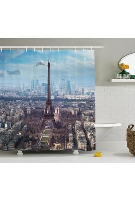 Orange Venue Paris Ve Gökyüzü Temalı Duş Perdesi Şık Tasarım