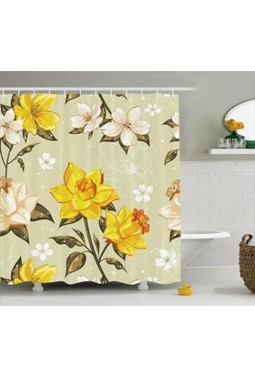 Orange Venue Bahar Çiçekleri Desenli Duş Perdesi Çeyizlik Trend