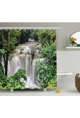 Orange Venue Şelale Manzaralı Duş Perdesi Orman Doğa Ağaç Yeşil