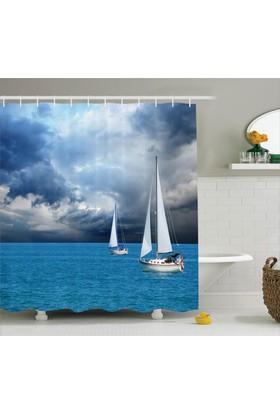 Orange Venue Fırtına Bulutları Ve Tekne Temalı Duş Perdesi Deniz
