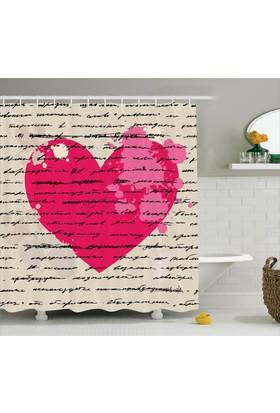 Orange Venue Aşk Mektubu Temalı Duş Perdesi Romantik Pembe Bej